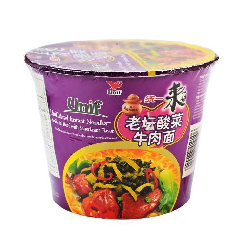 台湾统一 来一桶 老坛酸菜牛肉面 125g