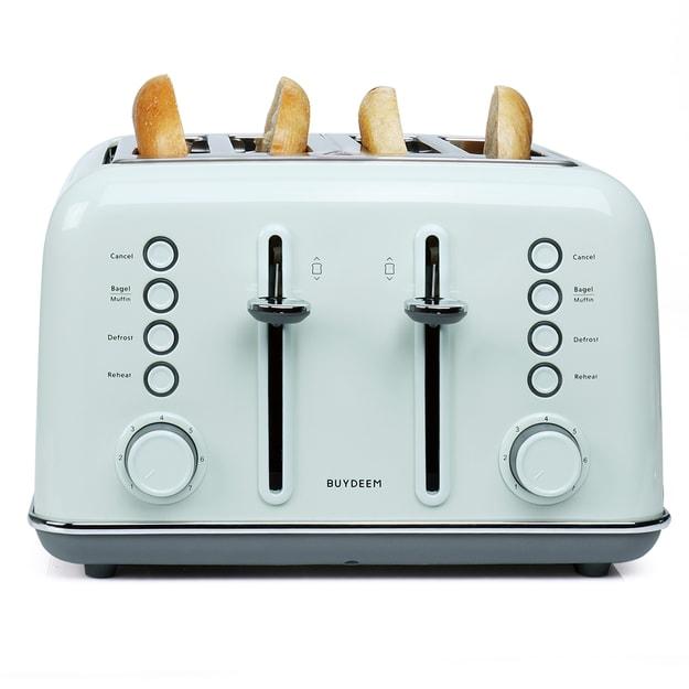 北鼎BUYDEEM DT-6B83G 4片多士炉 烤面包机 全不锈钢喷涂 Bagel English Muffin功能 水绿色 1件