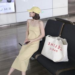 PRINSTORY 2019春夏 時髦小姐姐最愛的冰麻針織平口吊帶連衣裙 黃/S