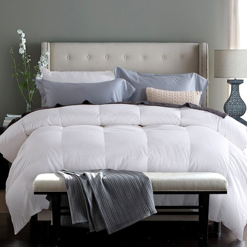 qbedding gingham jacquard down comforter extra warmth twin size. Black Bedroom Furniture Sets. Home Design Ideas