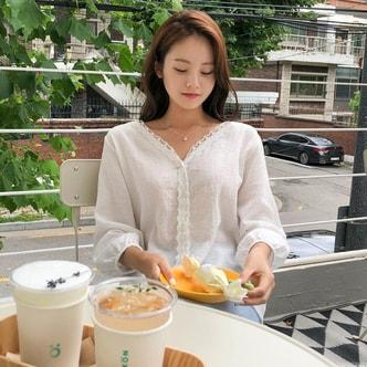 【韩国直邮】CHERRYKOKO V领蕾丝设计雪纺衬衫 象牙色 均码