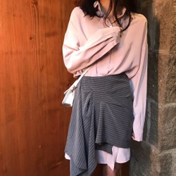 MOMO&MOLLY 襯衫兩件套慵懶風中長款連衣裙 粉色 均碼