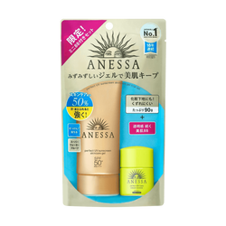 日本SHISEIDO資生堂 ANESSA安耐曬 金鉆水感美肌組 SPF50+ PA++++ 金鉆高效防曬凝膠 90g+運動型BB霜 明亮色 7.5ml