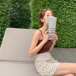 MOMO&MOLLY 新品韓版學院風A字裙高腰格子短裙半身裙 杏色 小碼
