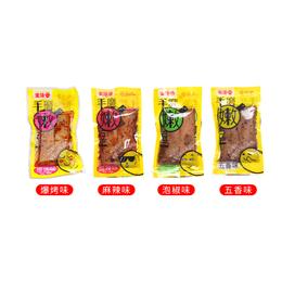 金堆谷 手磨嫩豆干 散裝 10枚 約25g*10 五香 麻辣 爆烤 泡椒 4種口味 隨機發貨