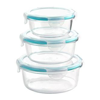 韩国NEOFLAM 透明玻璃圆形食物储存饭盒套组 6件套