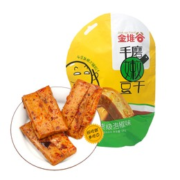 金堆谷 手磨嫩豆干 吃貨級泡椒味 180g 約8枚獨立包裝 軟豆干 植物蛋白 低熱量