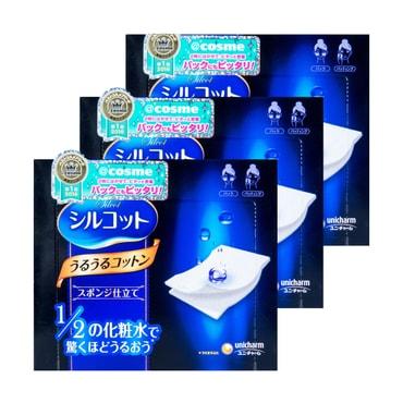 日本UNICHARM尤妮佳 1/2省水超吸收化妝棉 40枚入 COSME大賞第一位 3盒入