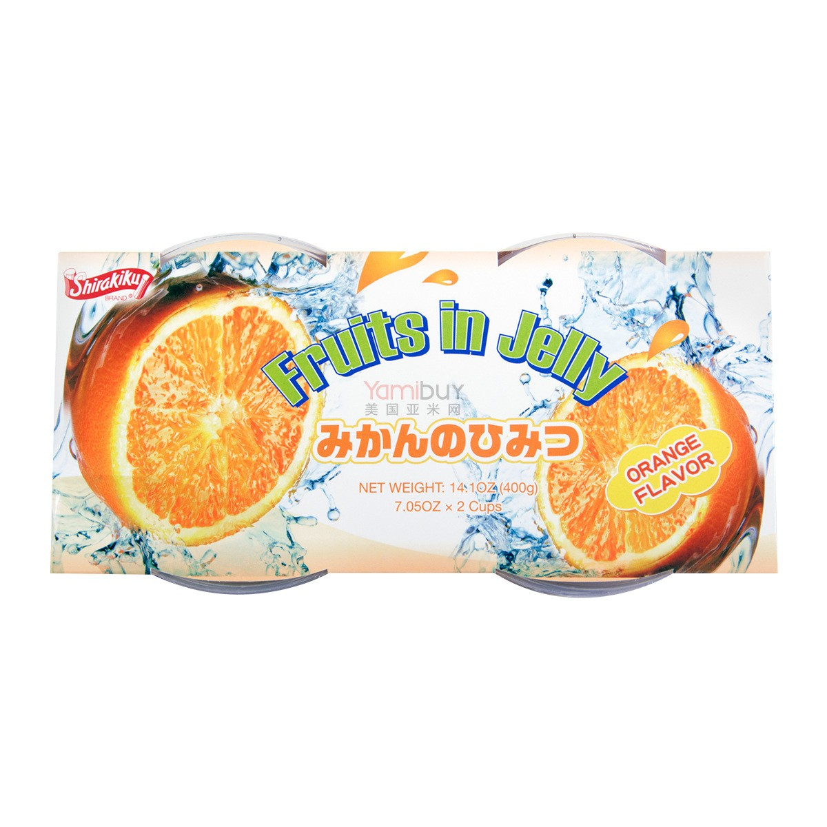 SHIRAKIKU Jelly Cup Orange Flavor 2 Cups 400g