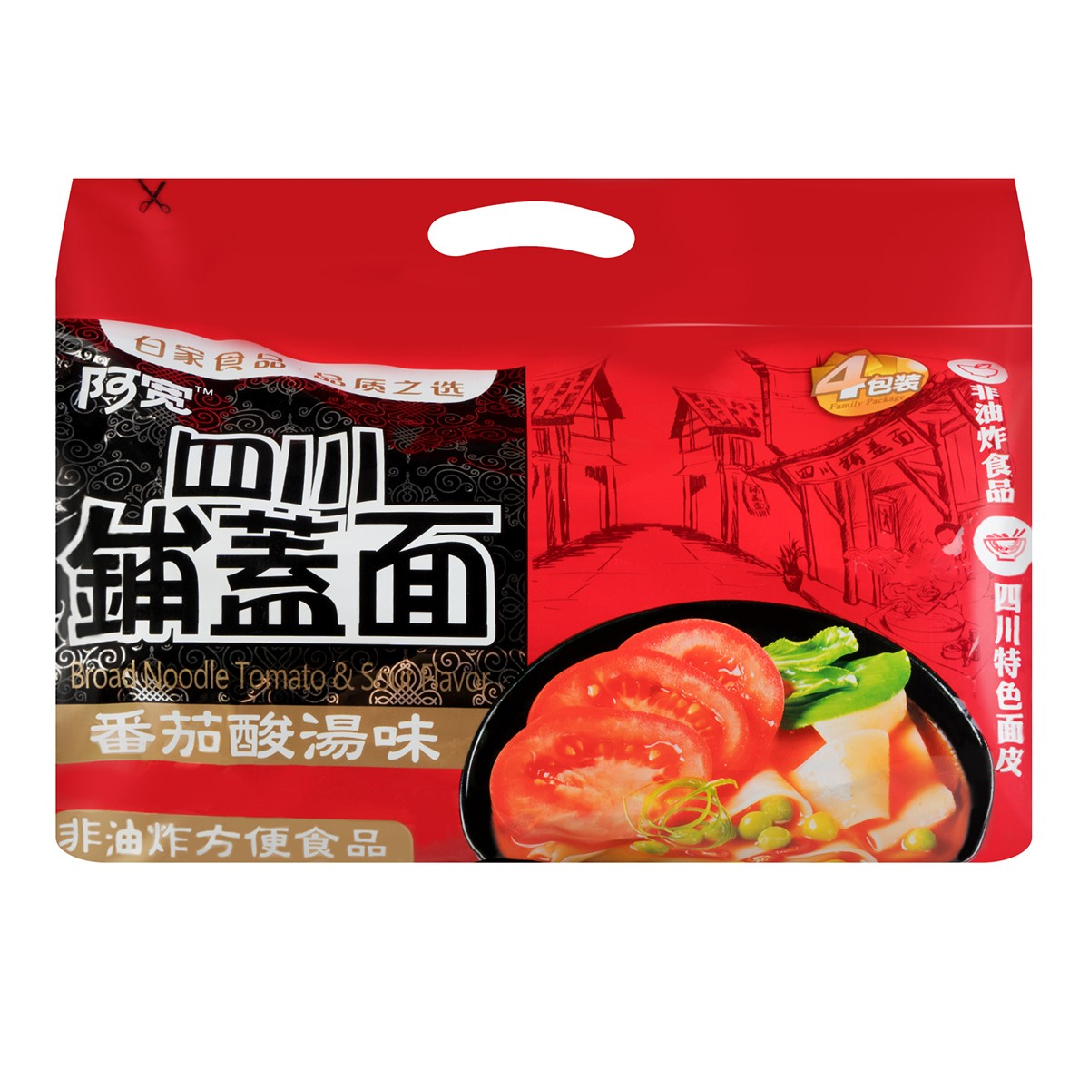 BAIJIA Broad Noodle Tomato & Sour Flavor 480g
