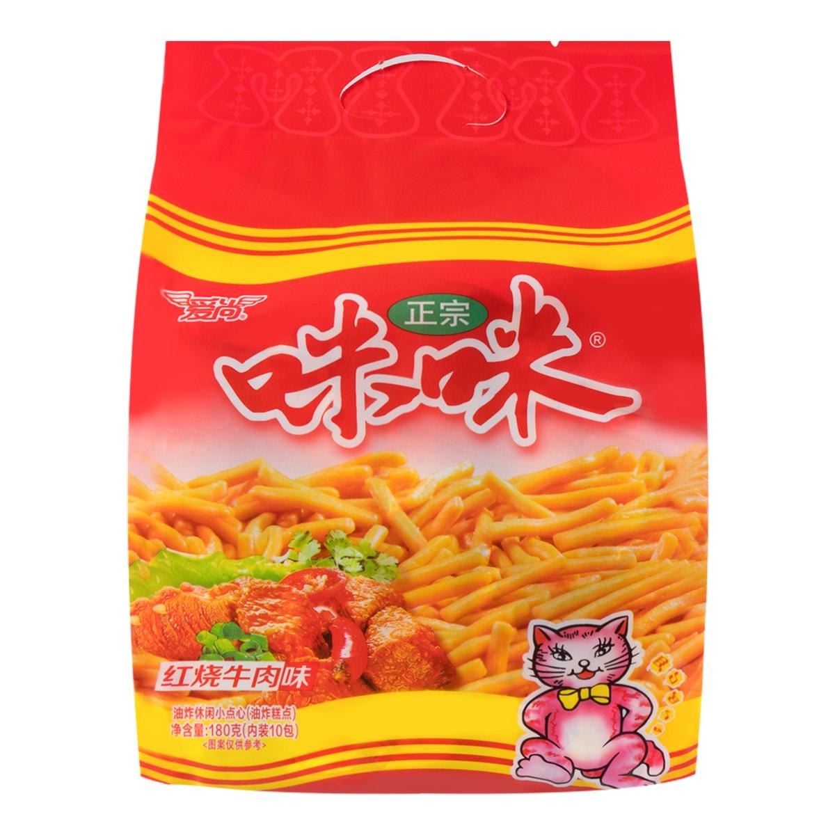 爱尚 咪咪虾条 红烧牛肉味 10袋入 180g