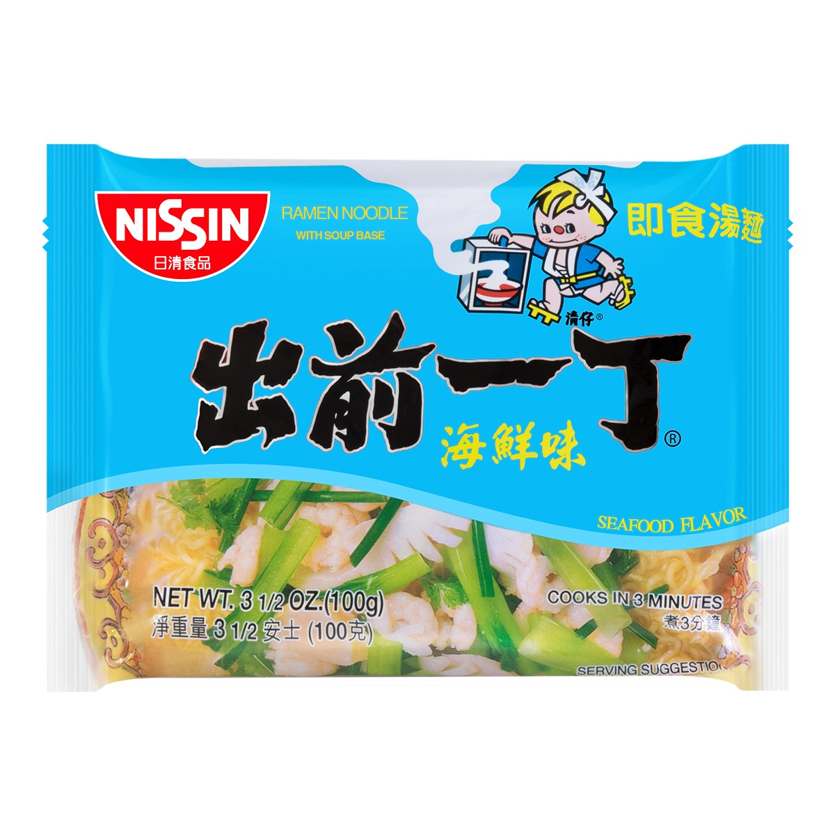 NISSIN Demae Ramen Noodle with Soup Base Seafood Flavor 100g