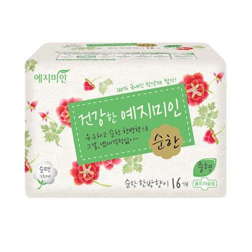 韩国YEJIMIIN礼知美人 纯棉汉方淡雅卫生巾 日用型 25cm 16片入 无荧光