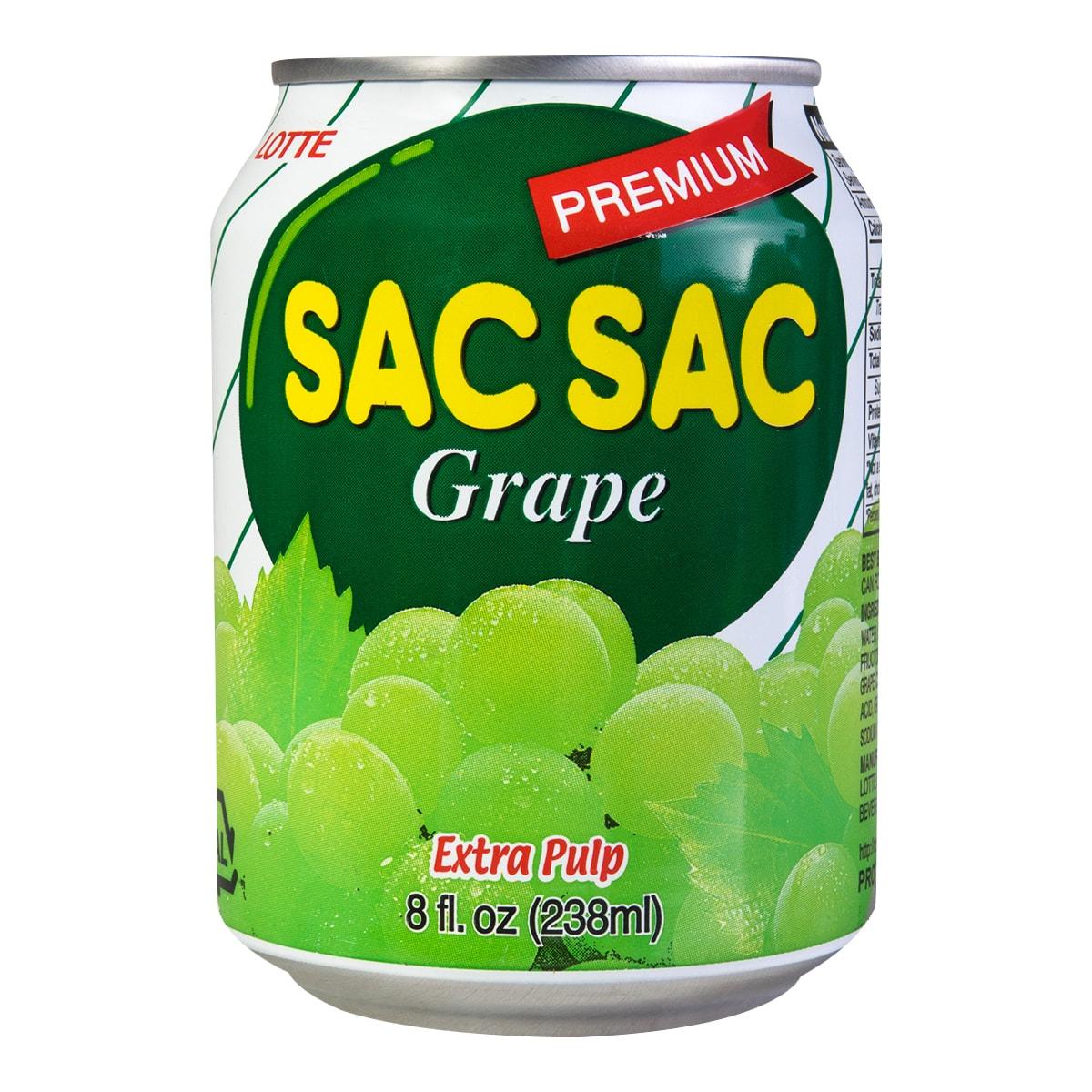 韩国LOTTE乐天 SAC SAC 粒粒葡萄汁饮料 238ml