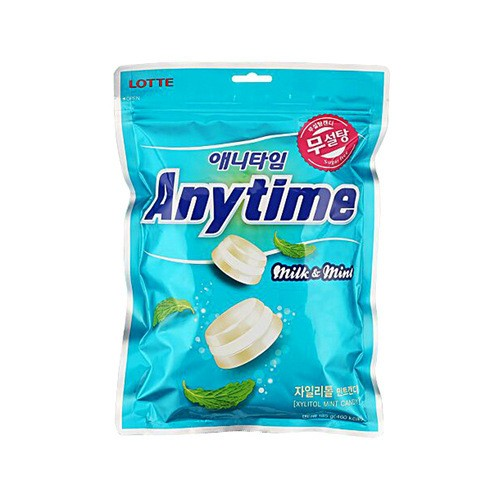 韩国LOTTE乐天 Anytime 牛奶薄荷夹心糖 袋装 74g