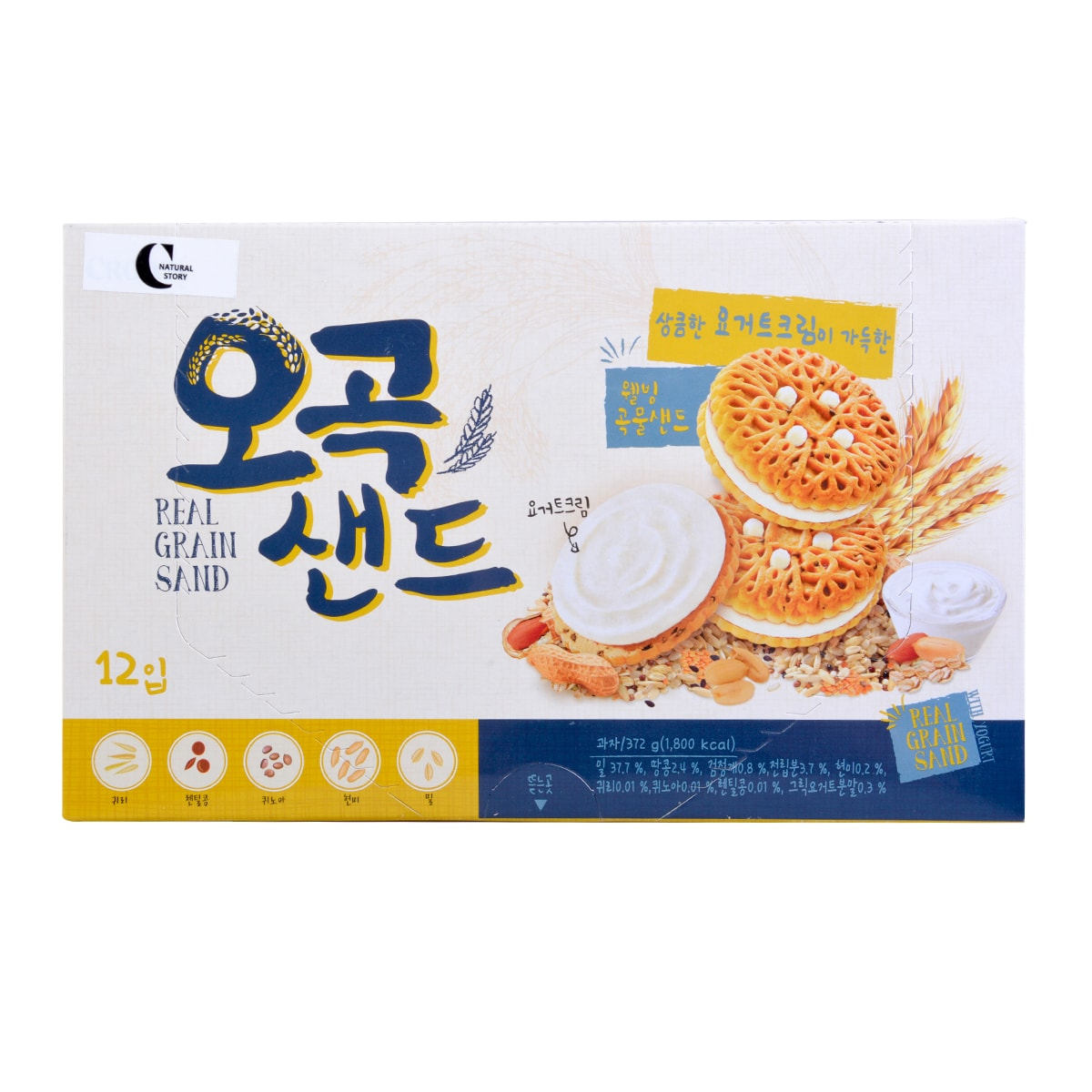 CROWN Yogurt Flavor 5 Grain Sand Biscuit 372g