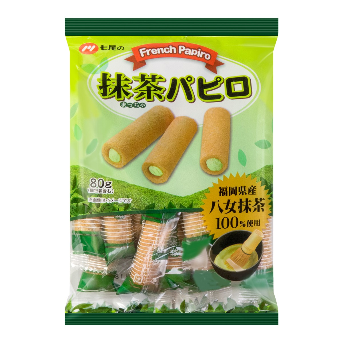 日本七尾制果 宇治抹茶夹心卷 80g
