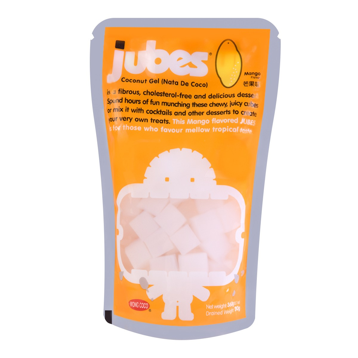 WONG COCO JUBES Nata De Coco with Coconut Water Mango Flavor 360g