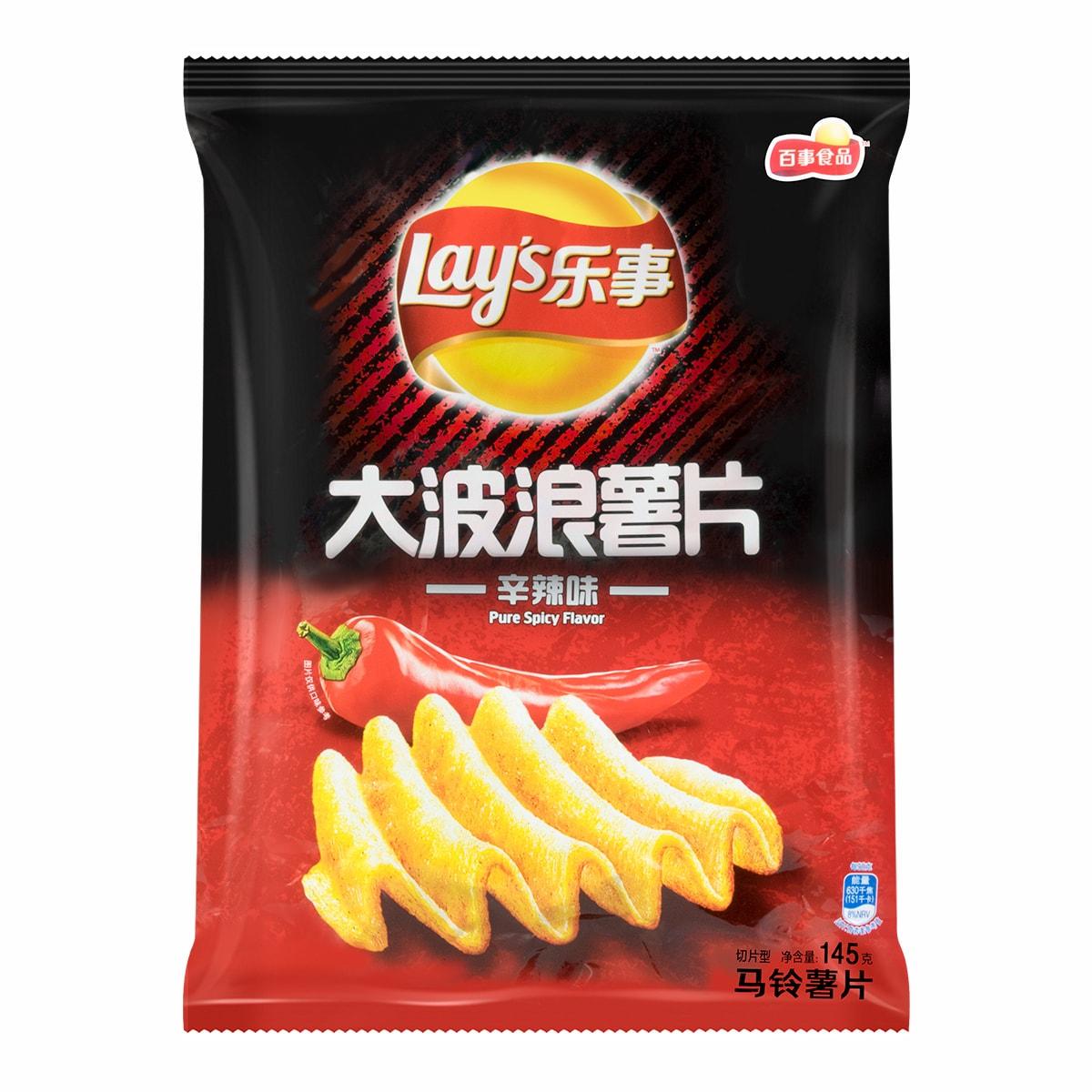 百事LAY'S乐事 大波浪薯片 辛辣味 145g+20g