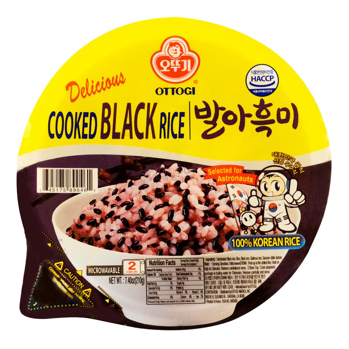 韩国OTTOGI不倒翁 微波黑米饭 2分钟即食 210g