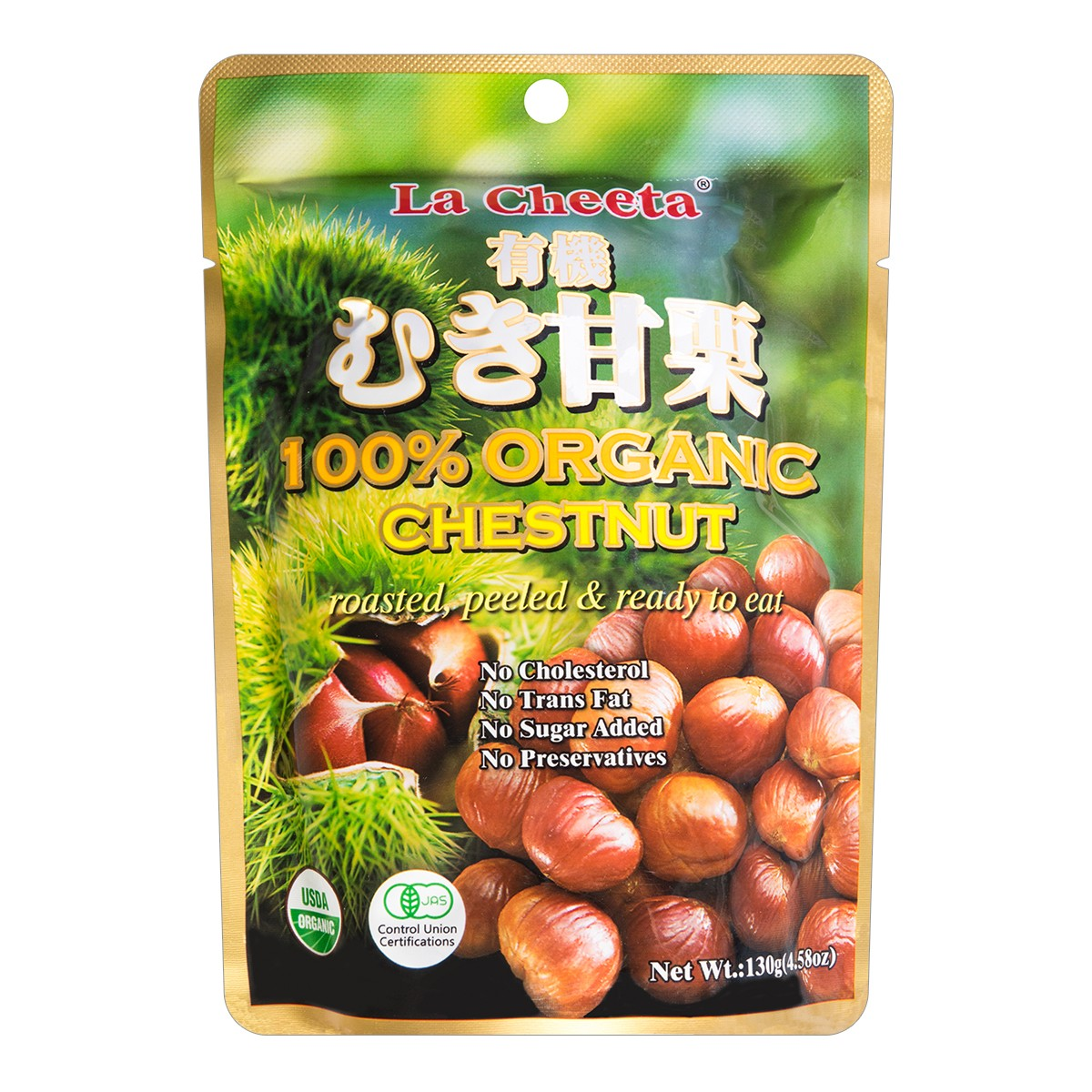 日本LA CHEETA 天然有机板栗 130g USDA认证