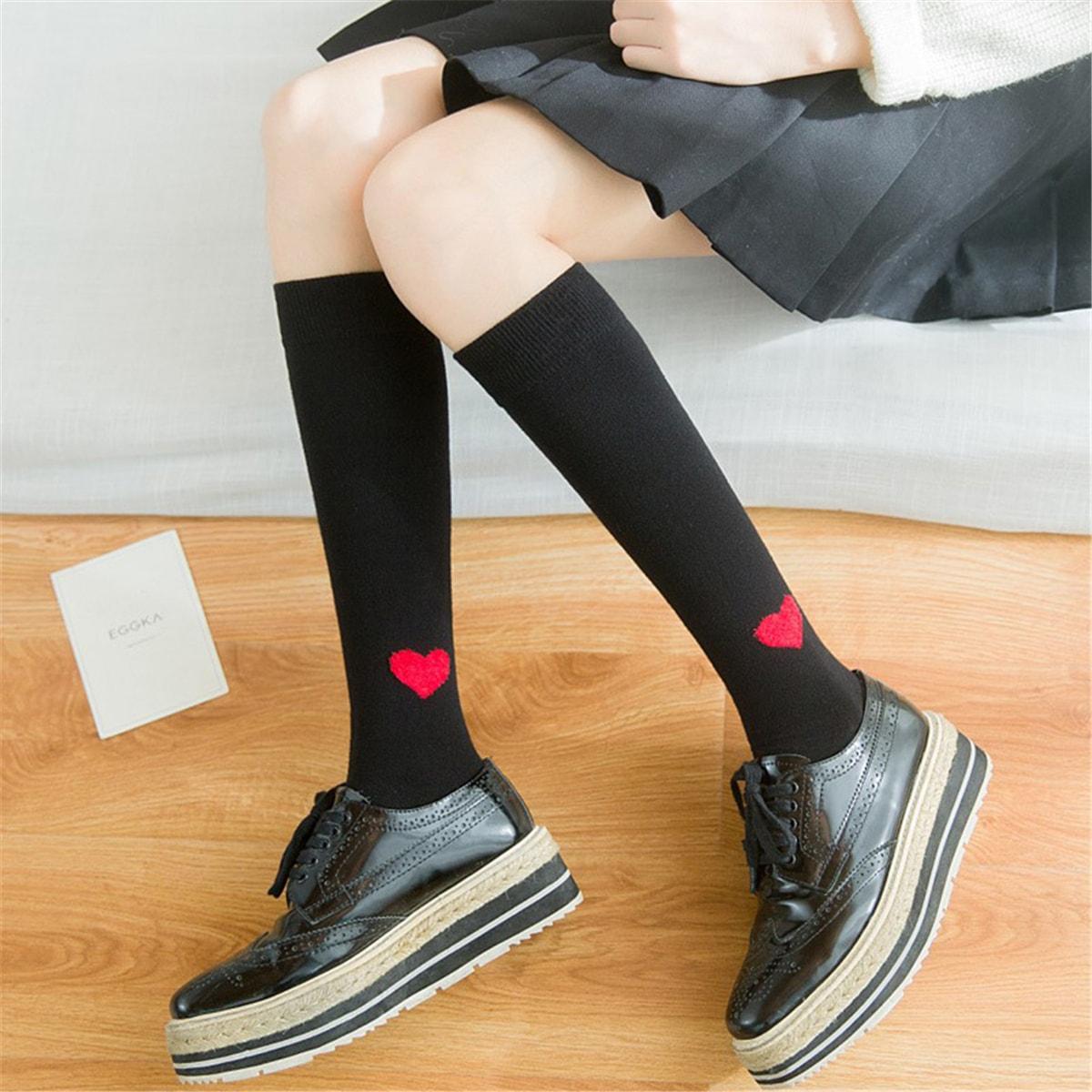 c7c6e1f4d UNIQUEWHO Girls Women Heart Pattern Mid-calf Length Socks Japanese Cotton  Knee Socks School Girl Stockings Black 1 Pair - Yamibuy.com