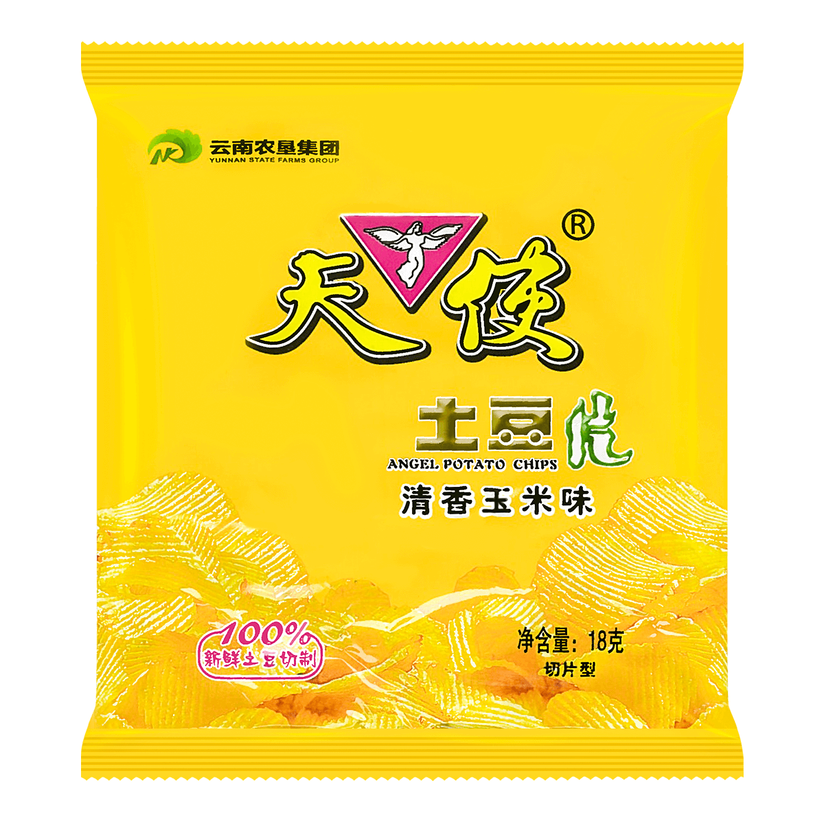天使 土豆片 清香玉米味 18g