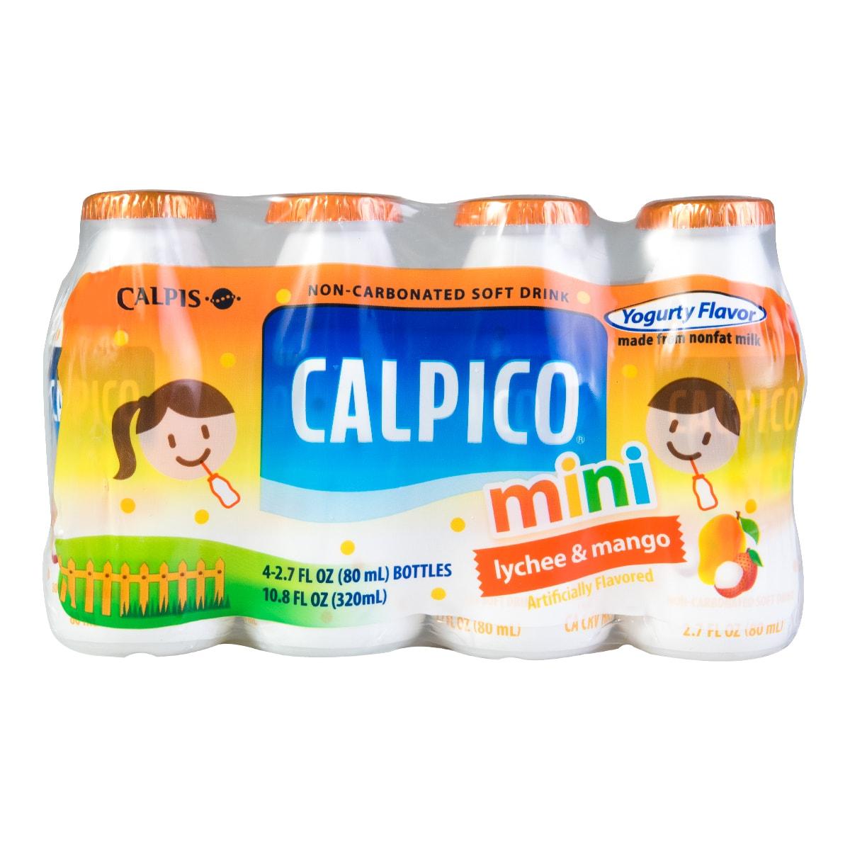 日本CALPICO 无碳酸天然无色素乳酸菌酸奶饮料 荔枝芒果味 迷你4瓶装 320ml