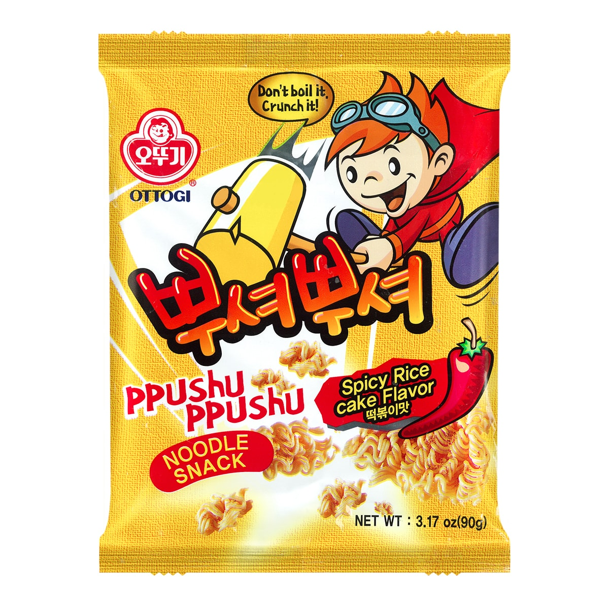 OTTOGI Ppushu Ppushu Noodle Snack Spicy Rice Cake Flavor 90g