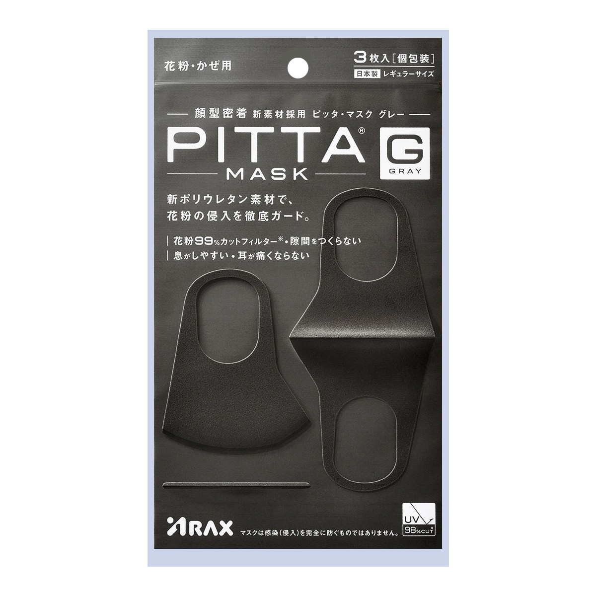 PITTA MASK Washable Anti-Allergen Dust Repellent Face Mask Dark Gray 3pcs