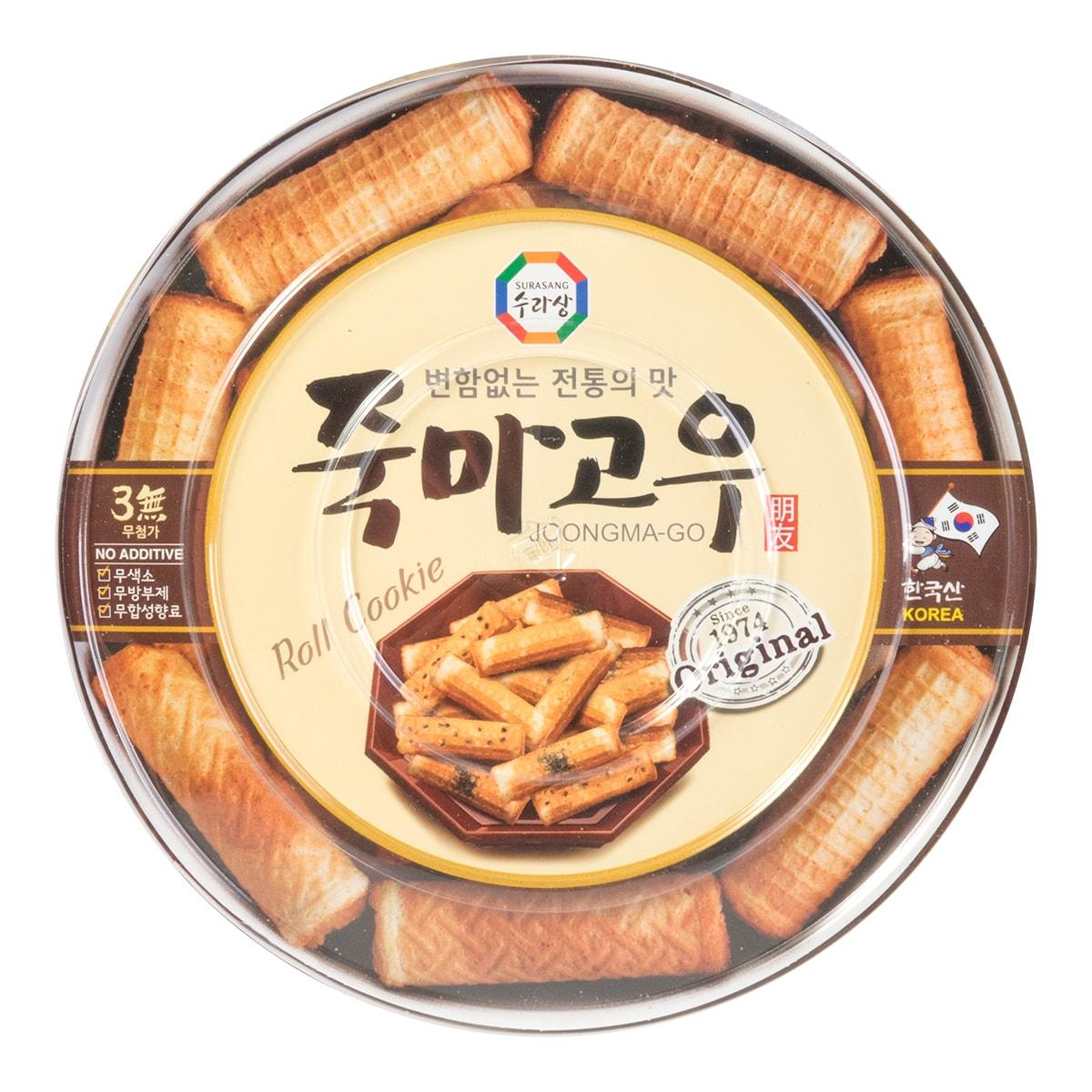 韩国SURASANG三进牌 竹马故友 香烤卷心蛋卷饼 黑芝麻味 365g