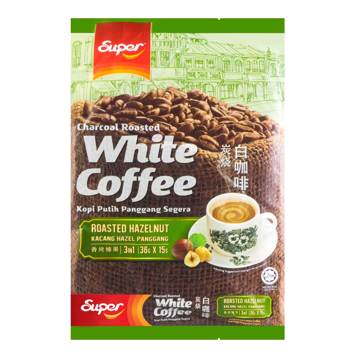 新加坡SUPER超级 炭烧白咖啡 15包入 540g