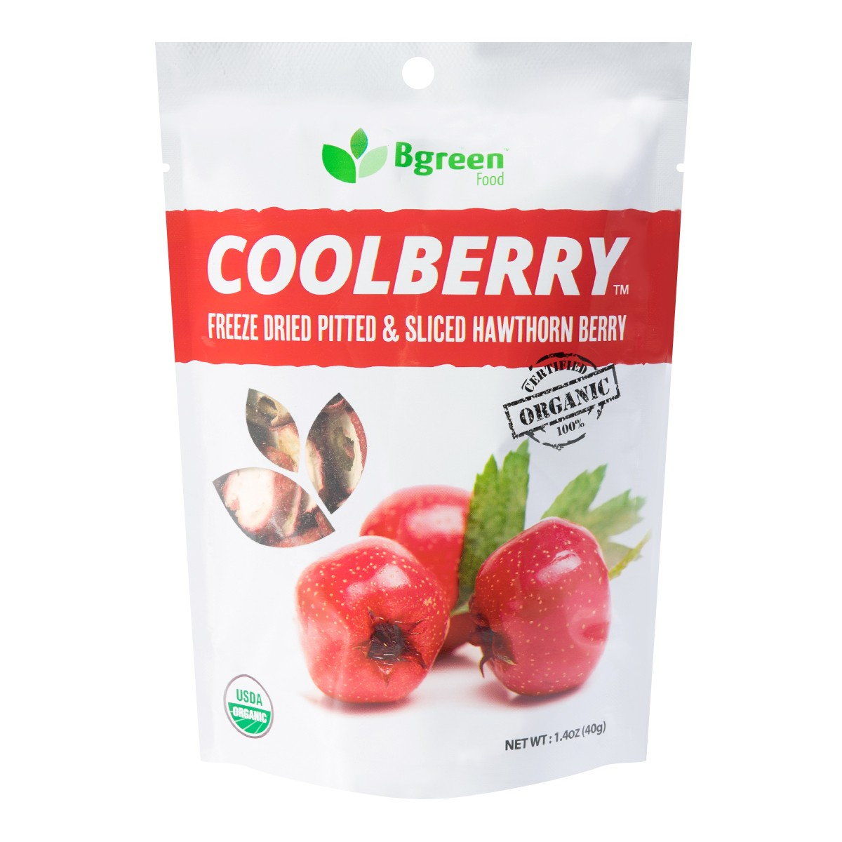 BIG GREEN Organic Hawthorn Berry Slice (Freeze Dried) 40g