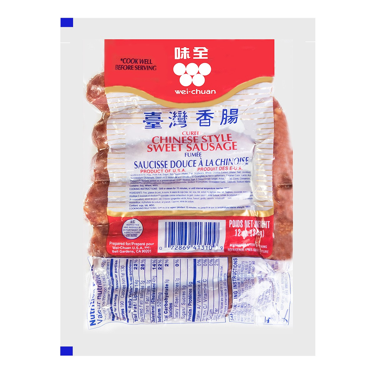 WEI CHUAN Sweet Sausage 340g