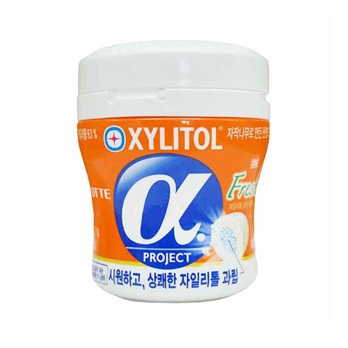 韩国LOTTE乐天 XYLITOL Alpha木糖醇口香糖 香橙味 瓶装 86g