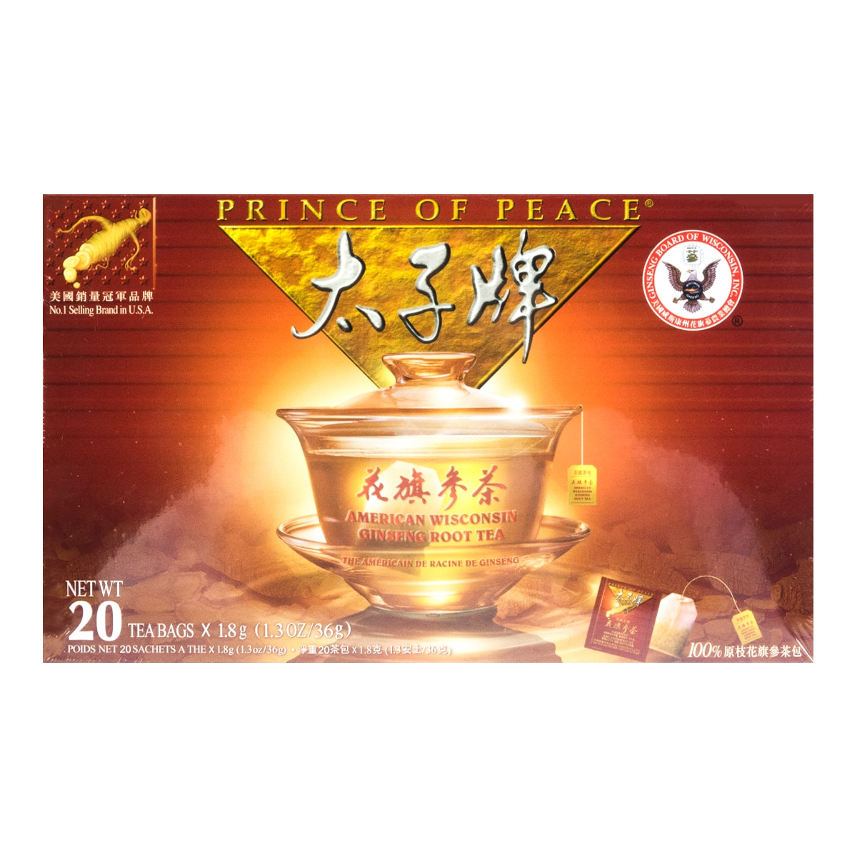 PRINCE OF PEACE American Wisconsin Ginseng Tea (20 Teabags)