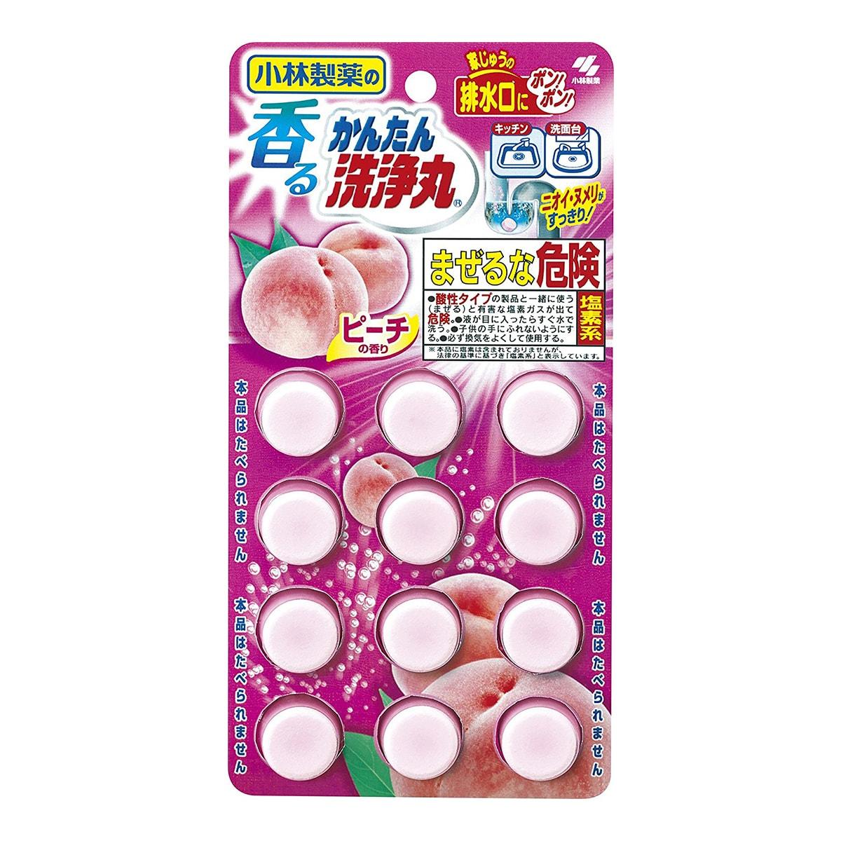 日本KOBAYASHI小林制药 多功能强力下水道清洗丸 水蜜桃香 12枚入