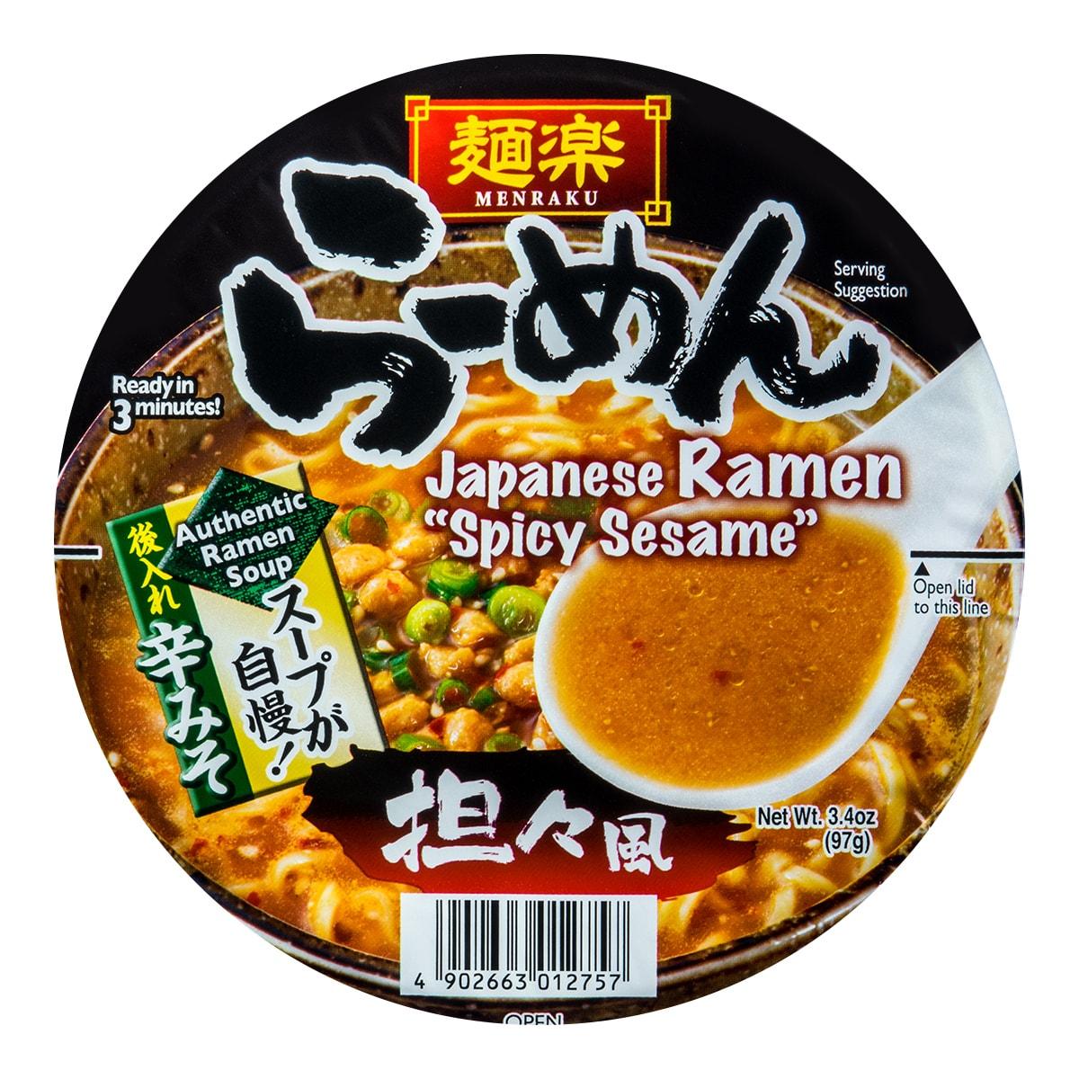 日本MENRAKU面乐 麻辣芝麻速食面 担担面风味 碗装 97g