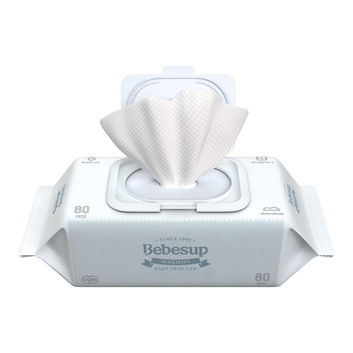 韩国BEBESUP 宝宝湿巾 手口湿巾 高级蓝色 敏感肌专用 带盖 80抽