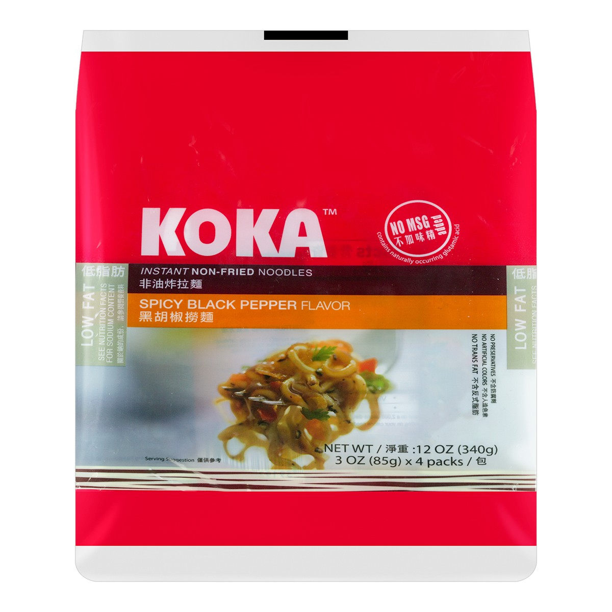 新加坡KOKA 黑胡椒捞面 非油炸拉面 4包入 340g