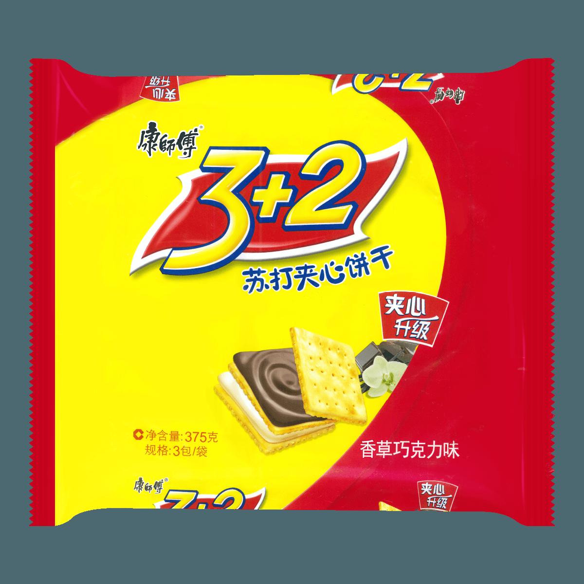 康师傅 3+2苏打夹心饼干 香草巧克力味 三连包 375g