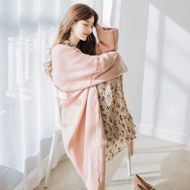 【韩国直邮】ATTRANGS 韩国甜美宽松加厚保暖开襟衫 暗粉色 Free