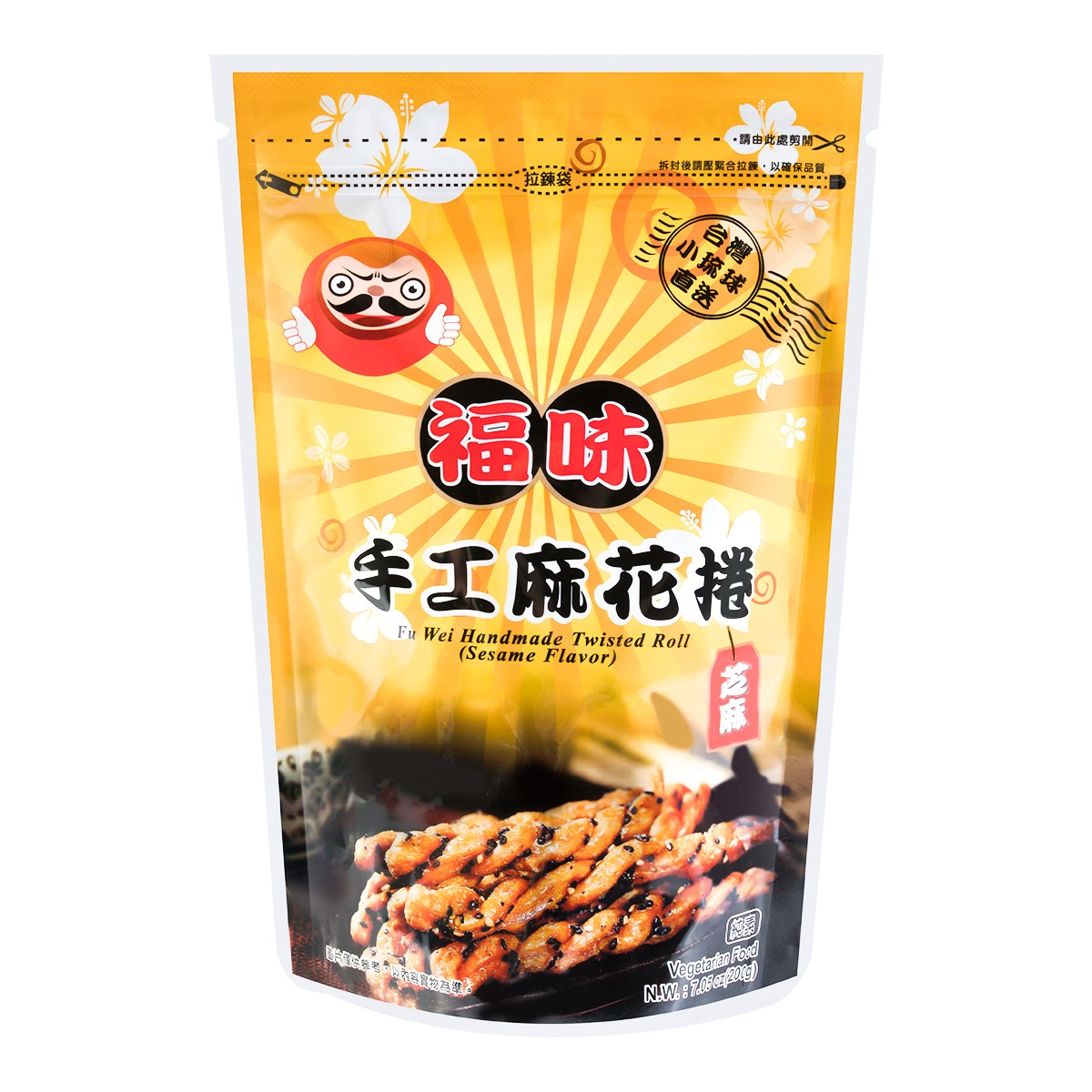 台湾 小琉球福味 芝麻手工麻花卷 200g
