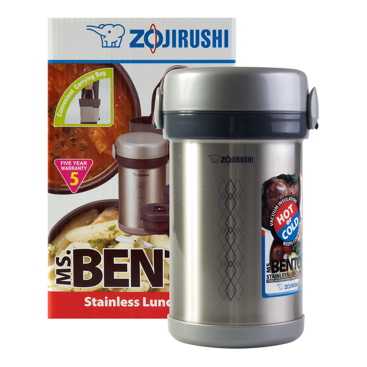 Zojirushi SL-NCE09 Ms. Bento Stainless Steel Vacuum Lunch Jar 840ml SL-NCE09