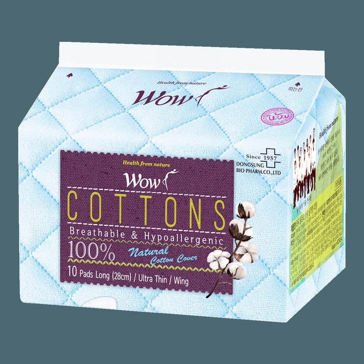 韩国DONGSUNG WOW 100%天然纯棉超薄护翼卫生巾 日用量多型 28cm 10片入