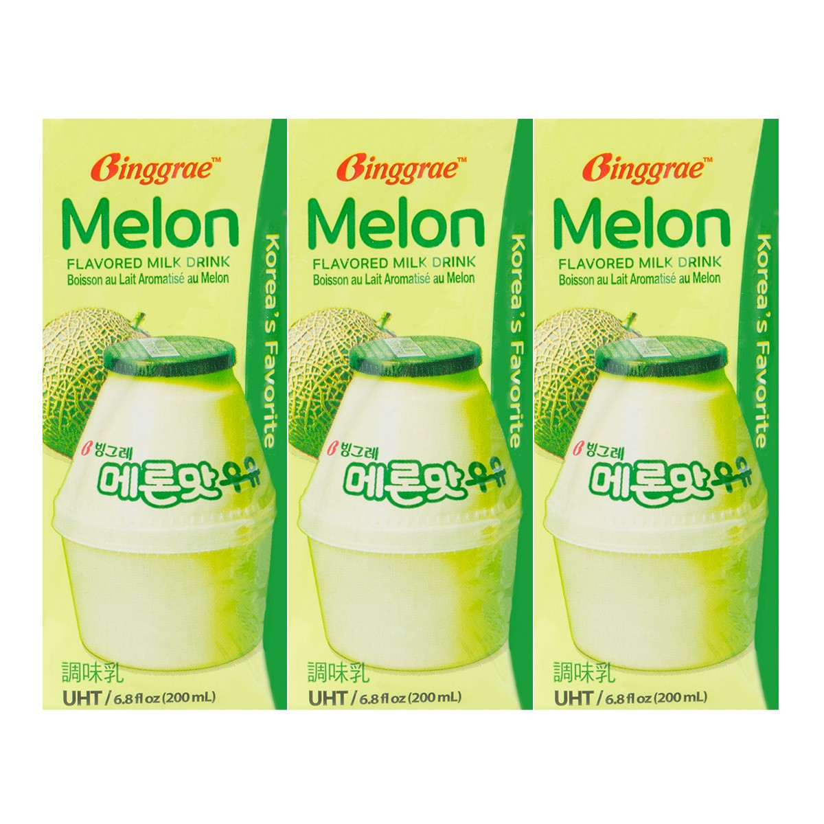 韩国BINGGRAE宾格瑞 哈密瓜牛奶饮料 6盒装 1200ml