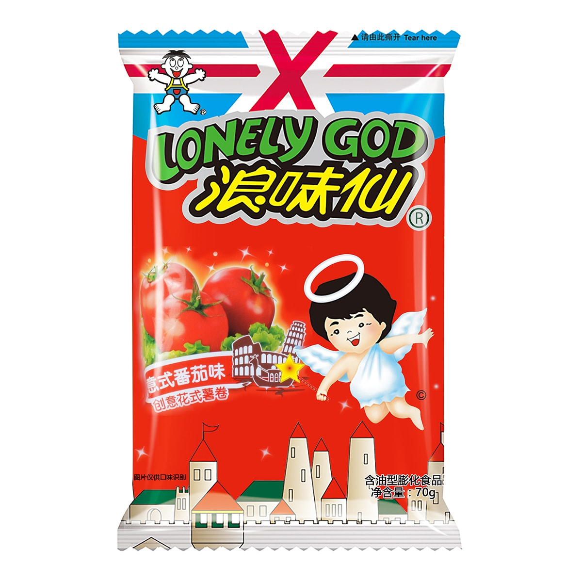 LONELY GOD Tomato Flavor Potato Twists 70g Random Delivery