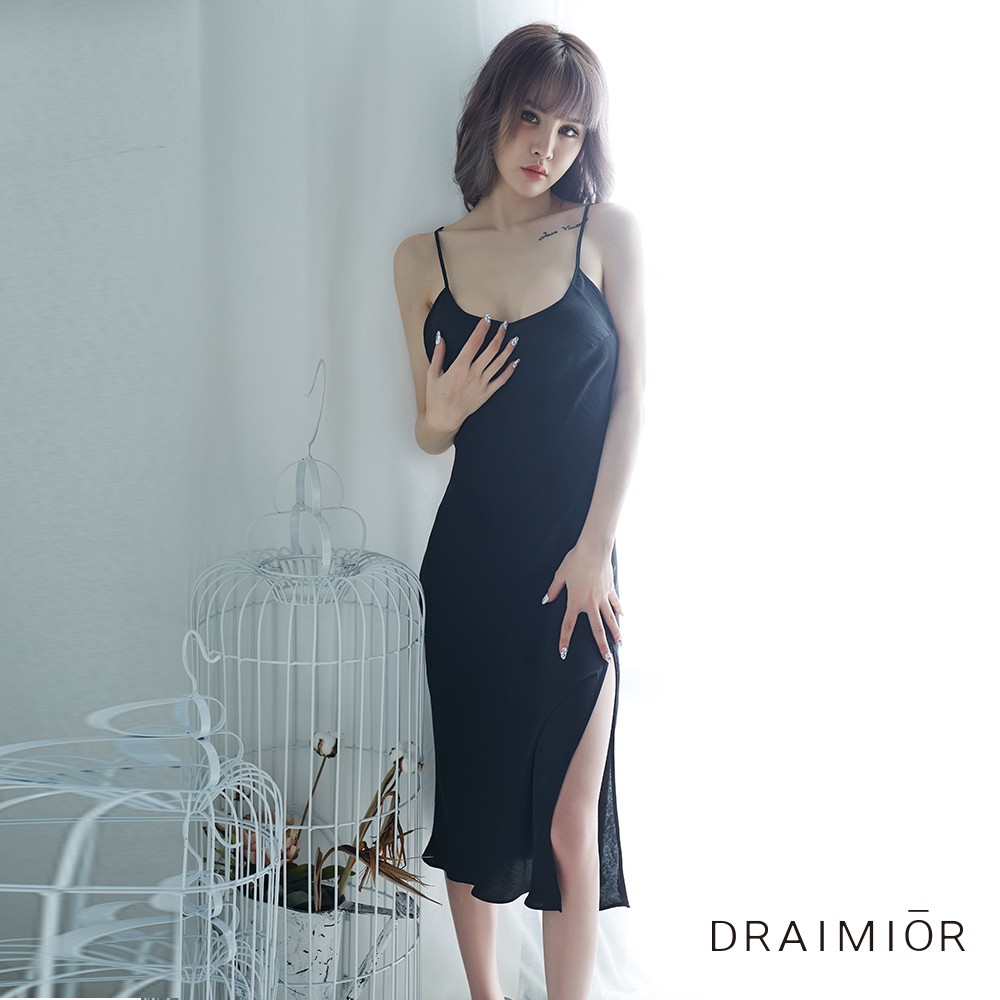 2b18b0a062 DRAIMIOR Elegant and simple crossover halter strap dress. Black M code -  Yamibuy.com