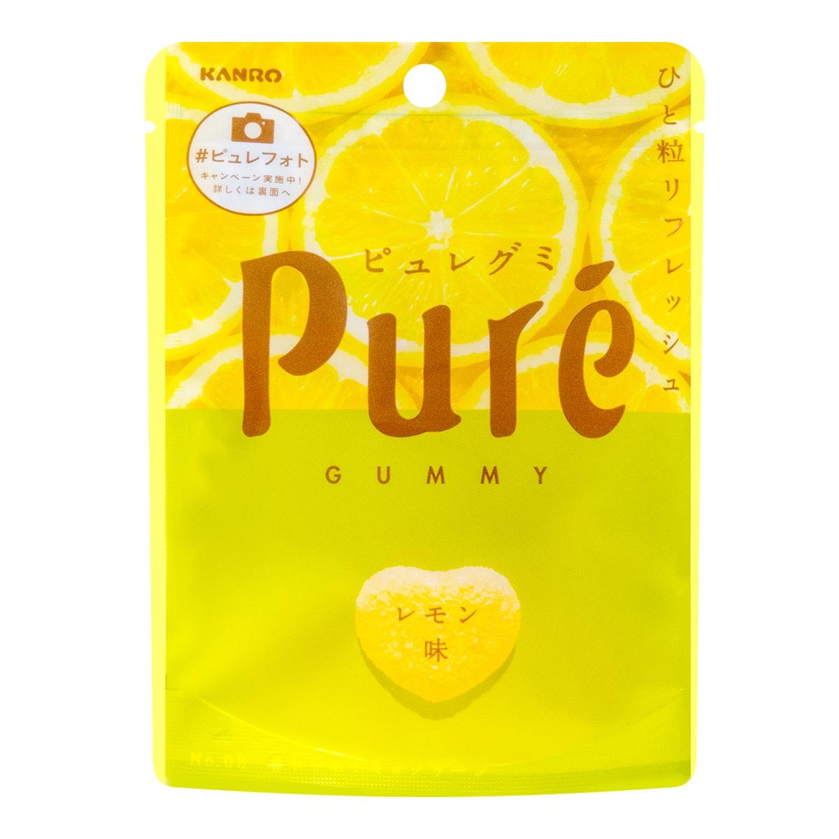 日本KANRO PURE果肉果汁咀嚼弹力软糖 柠檬味 56g