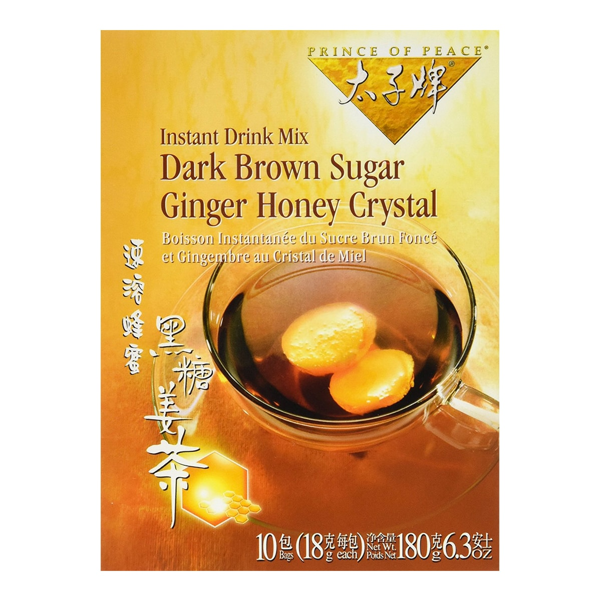 PRINCE OF PEACE Instant Drink Mix Dark Brown Sugar Ginger Honey Crystal Tea 10bags 180g